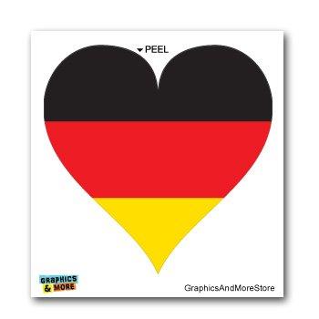 Germany German Flag Heart - Window Bumper Laptop Sticker (German Heart Flag)
