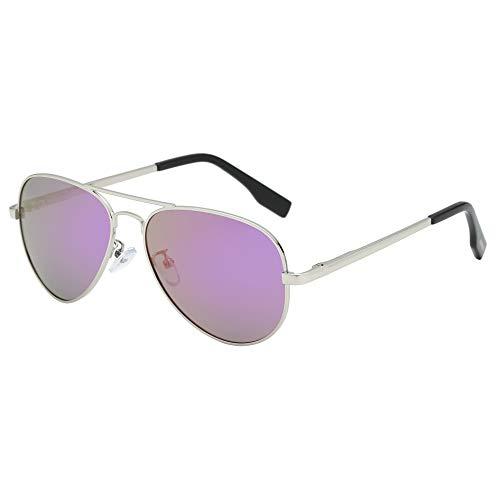 BEEAN Polarized Mirrored Sunglasses Classic Stylish Aviator Sun Glasses for Women Men, Silver, Purple