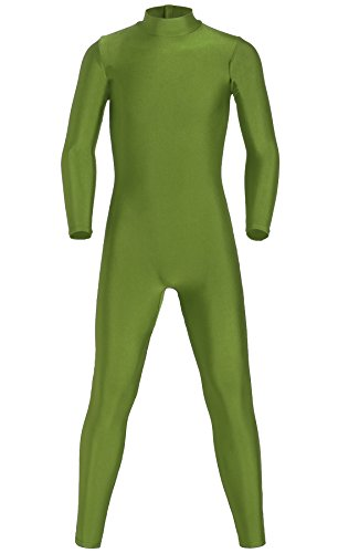 [JustinCostume Kids Spandex Turtleneck Full Body Unitard Costume, 8, Army Green] (Military Style Dance Costumes)