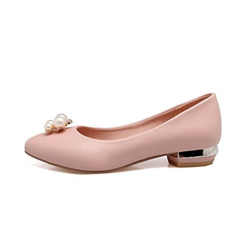 Pelle Tacco Ballet Scamosciata Finta VogueZone009 Flats Tirare Rosa Puro Punta Basso Donna Tonda w5XvFxqI