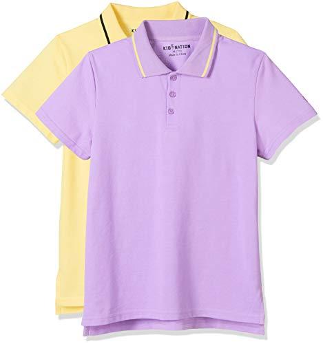 Kid Nation Kids 2 Packs Solid Short-Sleeve Yarn Dye Stripe Polo Shirt for Boys and Girls L Lilac+Lemon Meringgue