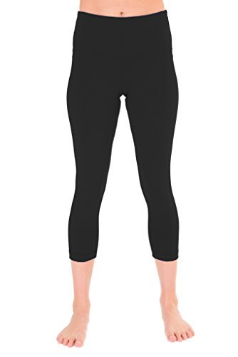 90 Degree By Reflex   High Waist Tummy Control Shapewear   Power Flex Capri Legging   Quality Guaranteed   Black Medium