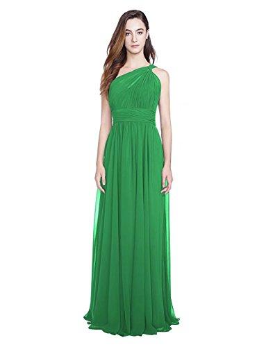 Ainidress Simples Robes De Demoiselle D'honneur En Mousseline De Soie Une Épaule Longue Vert Robe De Soirée Formelle De Mariage