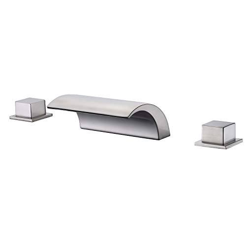 Sumerain Roman Tub Faucet Brushed Nickel,Waterfall Spout for High Flow Rate,Include Valve and Trim (Nickel Roman Tub Set)