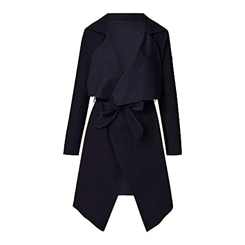 NUWFOR Women's Loose Solid Irregular Hem with Lapel Coat Trench Coat Cardigan Tops(Black,M) by NUWFOR (Image #2)