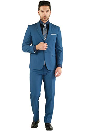 46S Paul Lorenzo Mens New Blue Slim Fit 2pc Suit ()
