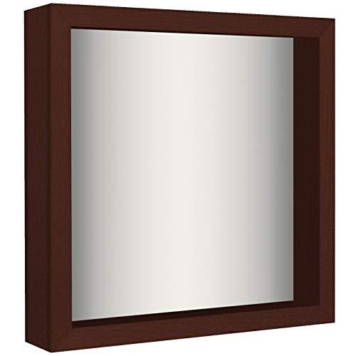 Americanflat 11x11 Shadow Box Frame - Soft Linen Back - Perfect to Display Memorabilia, Pins, Awards, Medals, Tickets, Photos - Mahogany