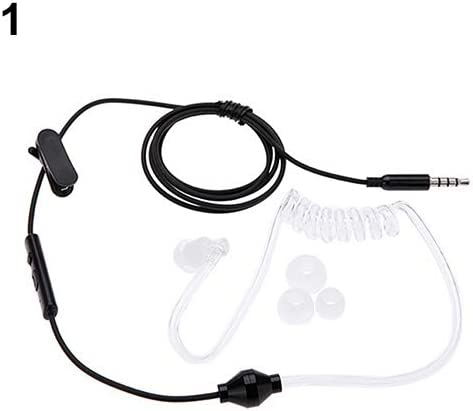 Kukakoo 3.5mm Mono Stereo Air Tube Anti-Radiation Radiation Proof Earphone Headset White