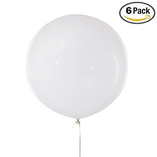 MOWO 36'' Giant Round White Latex Balloon Jumbo Helium Party Balloon (white, - Round Garland