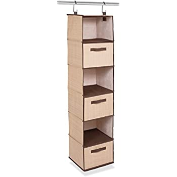 Internetu0027s Best Hanging Closet Organizer With Drawers | 6 Shelf | 3 Drawers  | Clothing Sweaters