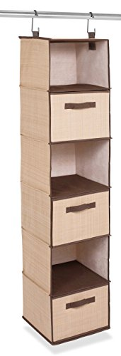 Internet's Best Hanging Closet Organizer with Drawers | 6 Shelf | 3 Drawers | Clothing Sweaters Shoes Accessories Storage | Brown (Beige) ()
