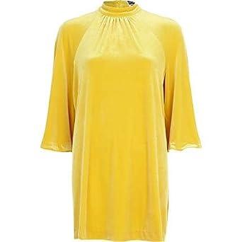 5592ddbb11fd14 River Island Yellow Chelsea Girl Split Sleeve Dress: Amazon.co.uk: Clothing
