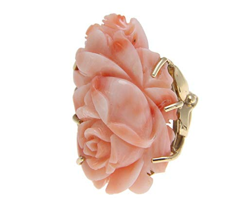 Coral Pink Natural Flower (14k solid yellow gold genuine natural pink coral carved flower ring)