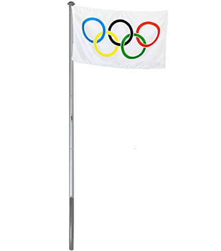BRUBAKER Aluminium Fahnenmast Flaggenmast 6m mit Erdhülse + Olympia Flagge 150 x 90 cm