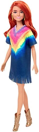Barbie Fashionistas Doll with Long Red Hair Wearing Tie-Dye Fringe Dress, Golden Boots & Earrings, Toy for