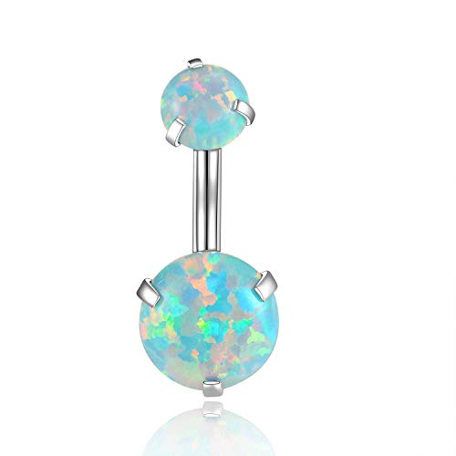 14G Opal Belly Button Rings Curved Surgical Steel Belly Piercings Navel Ring Navel Barbell for Women Girls(Choose Color)