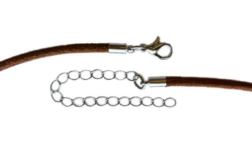 Find-Its 8-Piece Natural Leather Cord with Extender Chain, 18 to 21-Inch, Brown