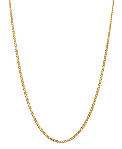 "3mm Gold Plated Flat Cuban Link Curb Chain Necklace, 18"" + Microfiber Jewelry Polishing Cloth"