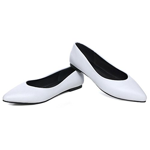 Women's KemeKiss Toe Pointy Ballet Ballerina Shoes Flat White Classic vwxwF
