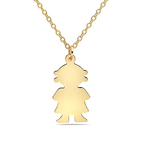 Pori Jewelers 14K Solid Yellow Gold Boy or Girl Charm Pendant in 14K Gold Diamond Cut Cable Chain Necklace -16