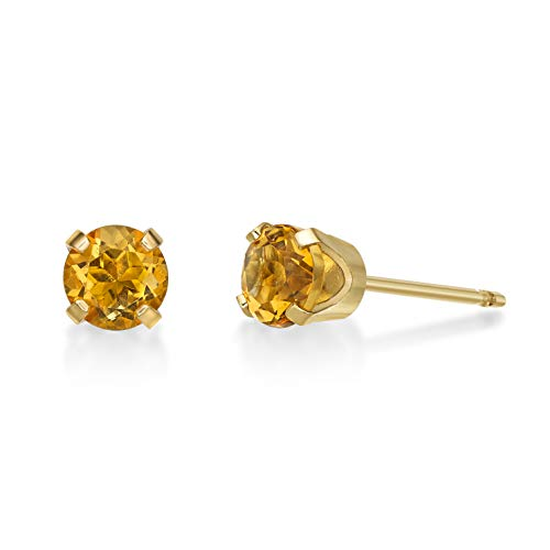 (.40 CT Round 4MM Yellow Citrine 14K Yellow Gold Stud Birthstone Earrings)
