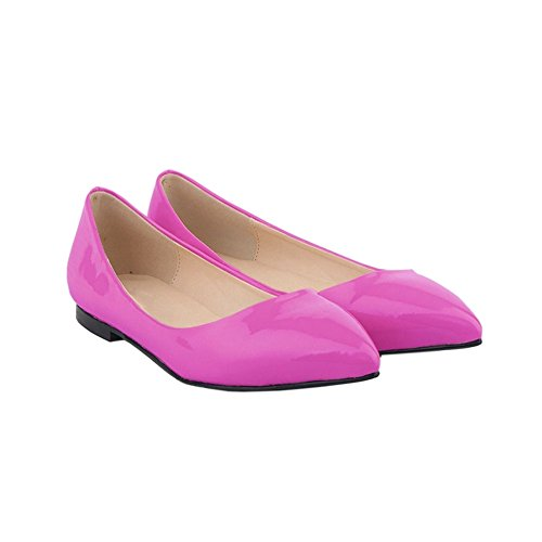 Meijunter Womens Shallow Mouth Pointed Leather Pumps Shoes Candy Color Flat Shoes DQXXxPD