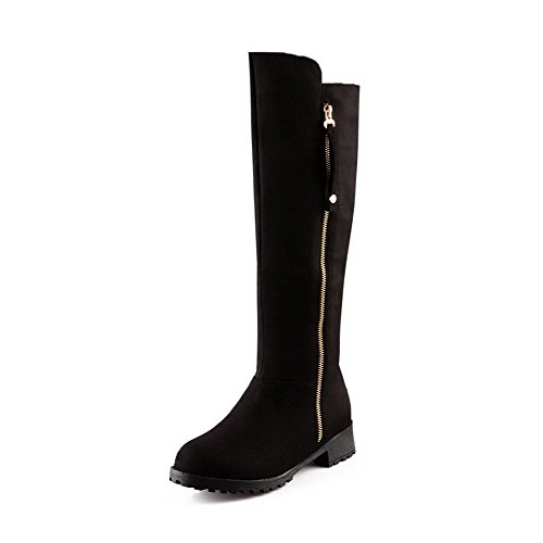 Solid High Suede Imitated Black Top Zipper Women's Low WeiPoot Heels Boots Cw4SqnUT