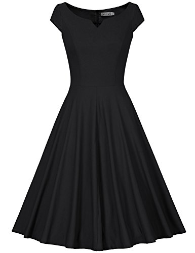 MUXXN Women's 50s Vintage Elegant Boat Neck Bridesmaid Swing Dress(S,Black)