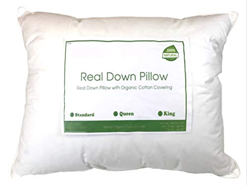 OrganicTextiles Real Down Bed Pillow with Organic Cotton Cover, Queen Size, Medium Firmness (Best Pillow For Heavy Head)