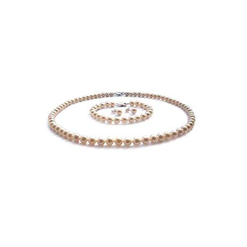 Blue Pearls-Parure Collier, Bracelet et Boucles d'Oreilles en Perles-BPS 1069 O Blanc
