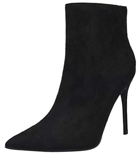Enfiler Bottines Grande Stiletto BIGTREE Bout Noir Taille Faux Suède Talons Chaussures Pointu Mode à Femmes Classique F14q4w