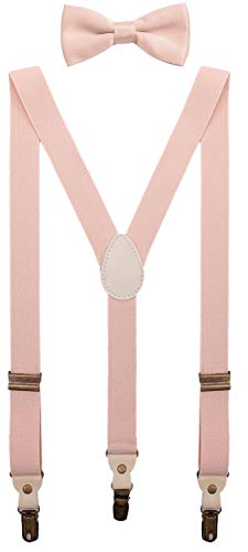 BODY STRENTH Boys Bow Tie and Suspenders Lightweight and Elastic for School 39 Inches, Rose Pink