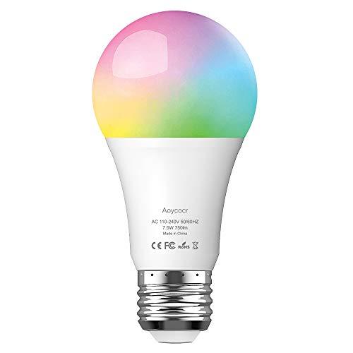 Aoycocr Smart WLAN LED Lampe E27 Wifi Glühbirne,  Alexa Glühbirnen...
