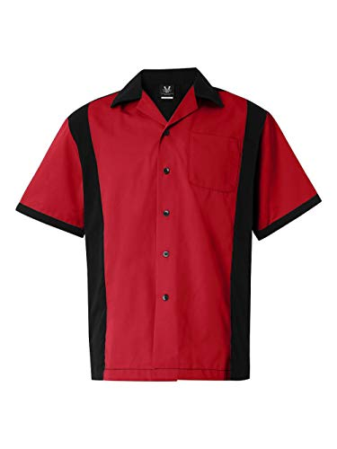 Bowling Cotton Shirts (Hilton HP2243 Men's Cruiser Bowling Shirt Red XL)