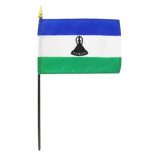 Lesotho 4in x 6in Stick Flag