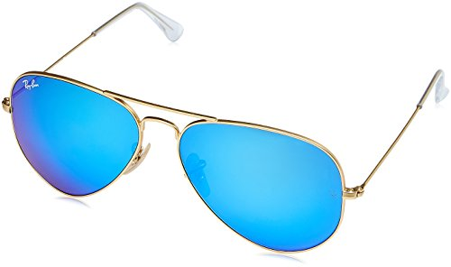 Ray-Ban RB3025 Aviator Flash Mirrored Sunglasses, Matte Gold/Blue Flash, 58 ()