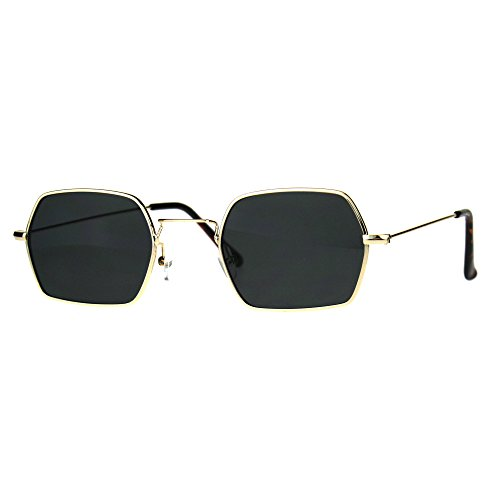 Rectangular Hexagon Shape Sunglasses Indie Style Thin Metal Frame Gold, - Mens Indie Style