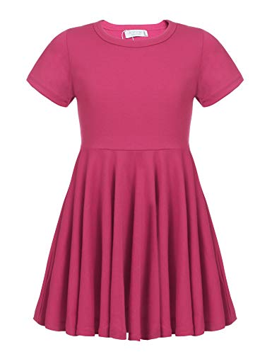 Arshiner Little Girls Short Sleeve A Line Casual Skater Dress Rose Red 120(Age for 6-7Y)