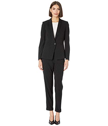 Tahari by ASL Women's Pinstripe Jacket Pants Suit Black/Ivory 10