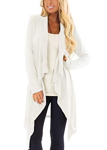 Sweaters Women Boutique - Women Irregular Hem Open Front Long Sleeve Button Casual Draped Lightweight Cardigan Otmeal L Oatmeal