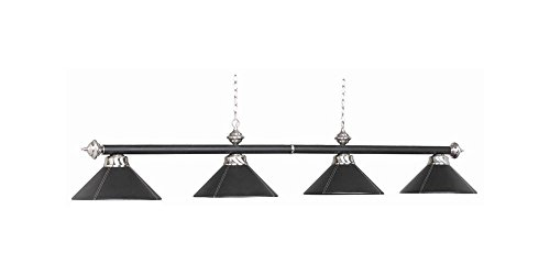 54 Inch 4 Bulb Leather Billiard Light in Black (Black) (7 Ram Lighting Pendant)