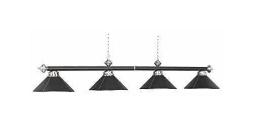54 Inch 4 Bulb Leather Billiard Light in Black (Black) (7 Ram Lighting Pendant)