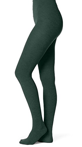 EMEM Apparel Women's Ladies Junior's Flat Knit Bamboo Cotton Sweater Winter Opaque Footed Tights Hosiery Stockings Hunter Green -