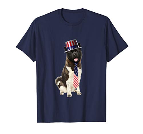 American Akita 4th Of July Dog In Top Hat and Tie T-Shirt