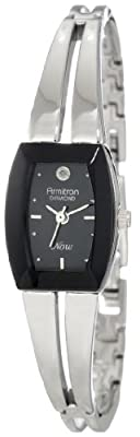 Armitron Women's 75/3447BKSV Diamond Accented Black Dial Silver-Tone Bangle Watch