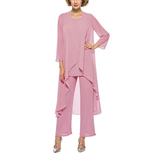 (3 Piece Mother of The Bride Outfit Pants Suits Chiffon Long Sleeve Dressy Pantsuits (Dusty Rose 10))