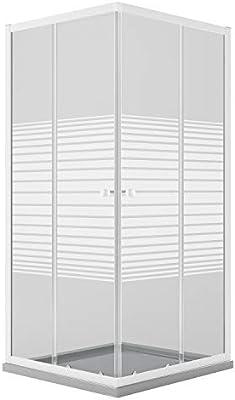 Idralite Mampara de Ducha Rectangular 75x90 CM H185 Blanco Vidrio Serigrafiado Mod. Blanc: Amazon.es: Hogar