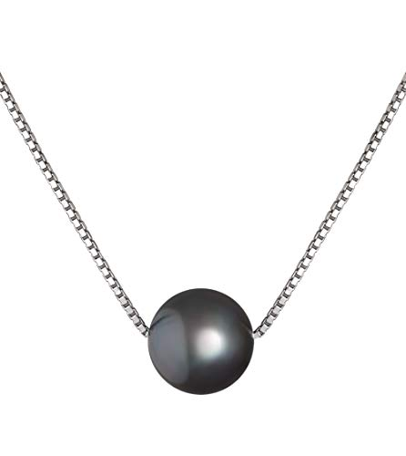 Madison Black 8-9mm AA Quality Freshwater 925 Sterling Silver Cultured Pearl Pendant For Women (Necklace Pendant Pearl Fw)