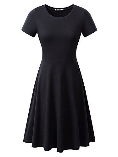 HUHOT Women Short Sleeve Round Neck Summer Casual Flared Midi Dress Small Black(Small,Black)