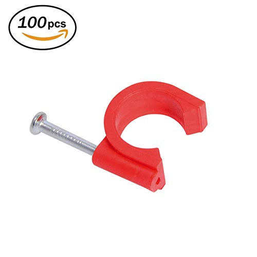 Firecore 1/2 Inch Clamp J-Hook with Nail for Pex Tubing Pipe Support, Red(100 pack)